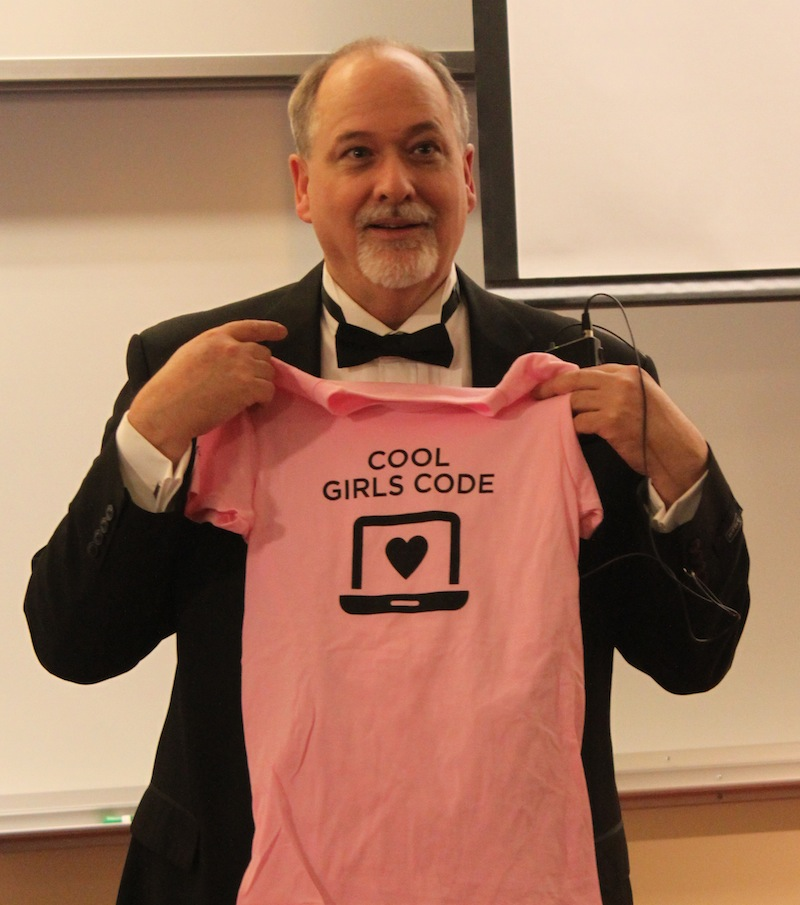 MC of the 2012 SI Revue modelling a 'Cool Girls Code' t-shirt photo-credit Nikki Candelora Roda